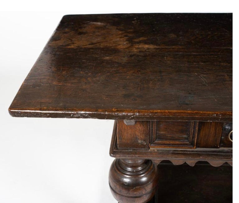 Mid-17th Century Period 17th Century English Jacobean Oak Table with Baluster Legs For Sale