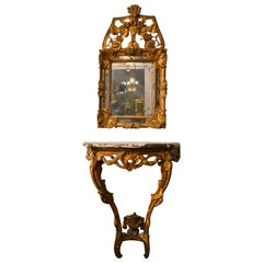 Period 18th Century Louis XV Carved Giltwood Console and Mirror