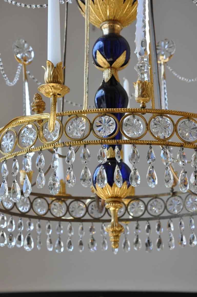 Period 19th Century Russian Neoclassical Cobalt and Ormolu Chandelier In Excellent Condition For Sale In Essex, MA