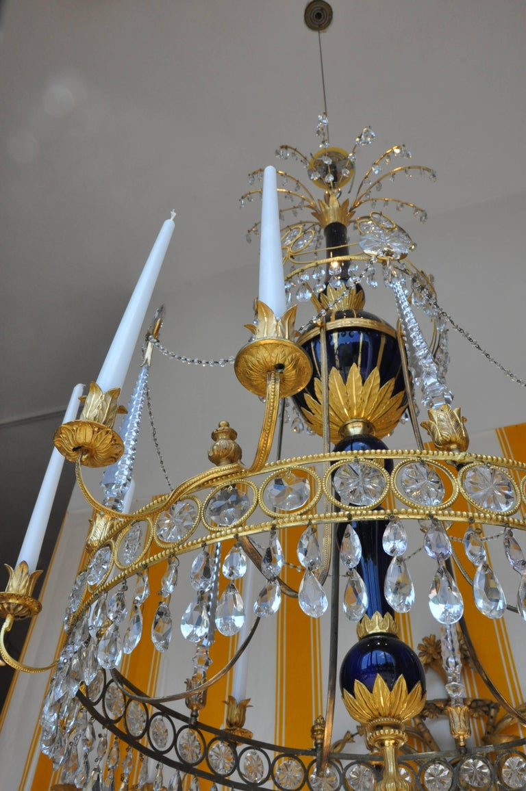 Bronze Period 19th Century Russian Neoclassical Cobalt and Ormolu Chandelier For Sale