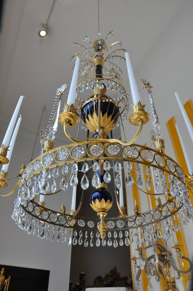 Period 19th Century Russian Neoclassical Cobalt and Ormolu Chandelier For Sale 1