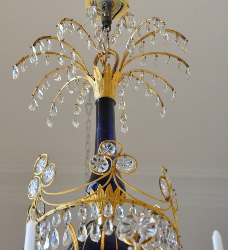 Period 19th Century Russian Neoclassical Cobalt and Ormolu Chandelier For Sale 2