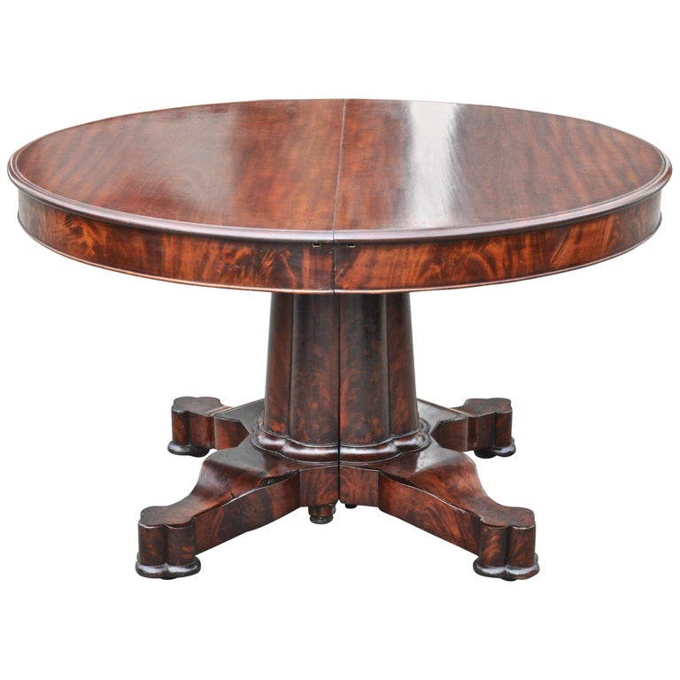Period American Early 19th Century Round Extension Dining Table by Charles Hobe For Sale