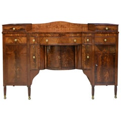Period Antique American Sheraton Sideboard in Mahogany, circa 1815