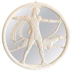 Period Art Deco Carved Wood Archer and Dog Mirror
