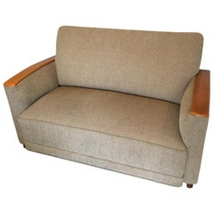 Period Art Deco Loveseat Settee with Wood Arms