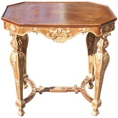 Period Baroque Painted and Gilt Italian Table From the Estate of Cynthia Phipps