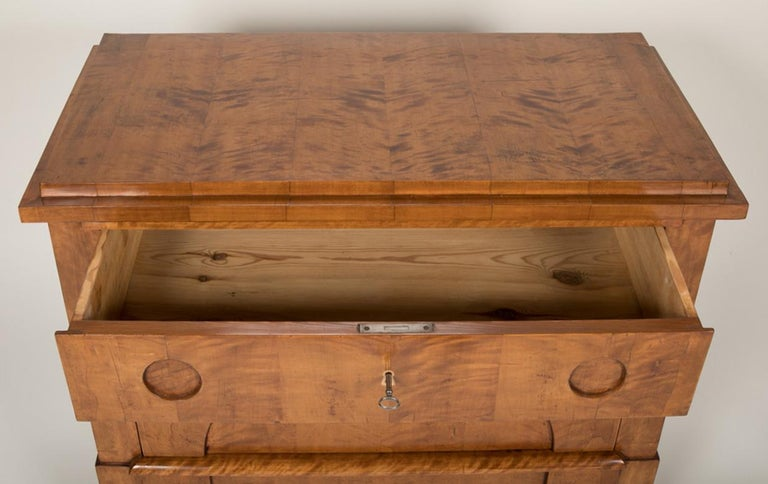 Period Biedermeier Birch Chest with Modern Appeal For Sale 12