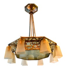 Period Chromed Frame Art Deco Chandelier