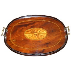 Period circa 1790 Thomas Sheraton Walnut Inlaid Serving Dinner Tray Bronze
