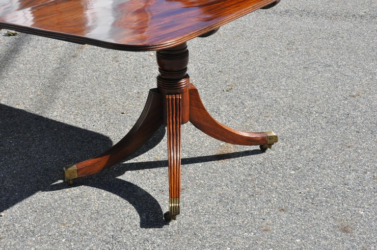 Mahogany Period Early 19th Century American Three Pedestal Dining Table For Sale