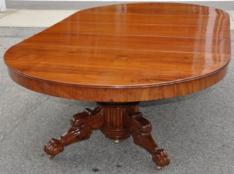Period Early 19th Century Neoclassical Walnut Round Expanding Dining Table 1