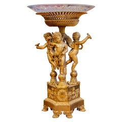Period Empire Gilt Bronze and Crystal Top Centerpiece