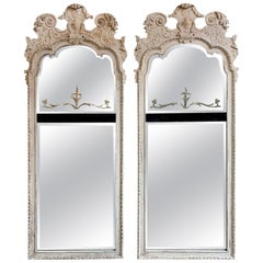Period English Regency Carved and Painted Mirrors with Divided Glass