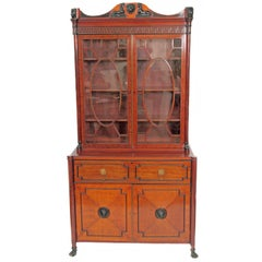 Period English Regency Secretary Cabinet with Ebonized Trim