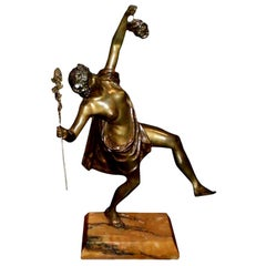 Period French Art Deco Bronze Sculpture on Marble Base by G. Obiols