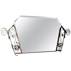 Period French Art Deco Wrought Iron Beveled Mirror