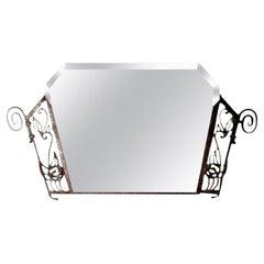 Period French Art Deco Wrought Iron Beveled Mirror