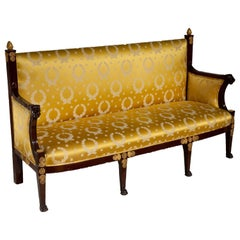 Period French Directoire Mahogany Cannape in Gold Empire Silk Fabric