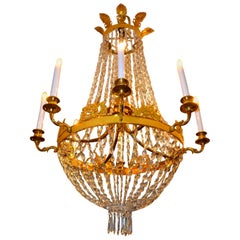Period French Empire Crystal and Gilt Bronze Chandelier