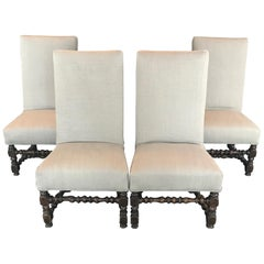 Period French Louis XIV Set of Four Walnut William & Mary Dining Chairs