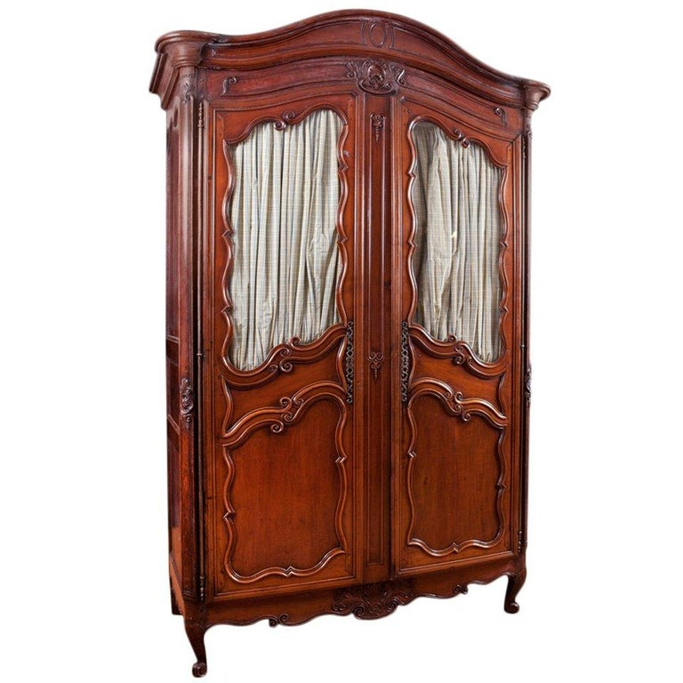 Period French Louis XV Walnut Armoire, Mid-1700s For Sale