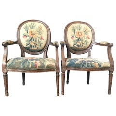 Period French Walnut Louis XVI Antique Carved Tapestry Fauteuils