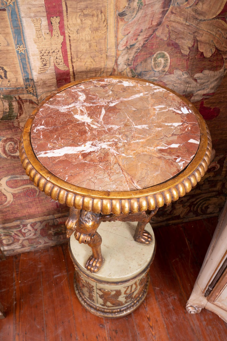 Marble Period Italian Carved and Gilded Empire Gueridon For Sale