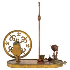 Period Louis XV Spinning Wheel in Rose Wood, Violet Wood, and Gold Gilt