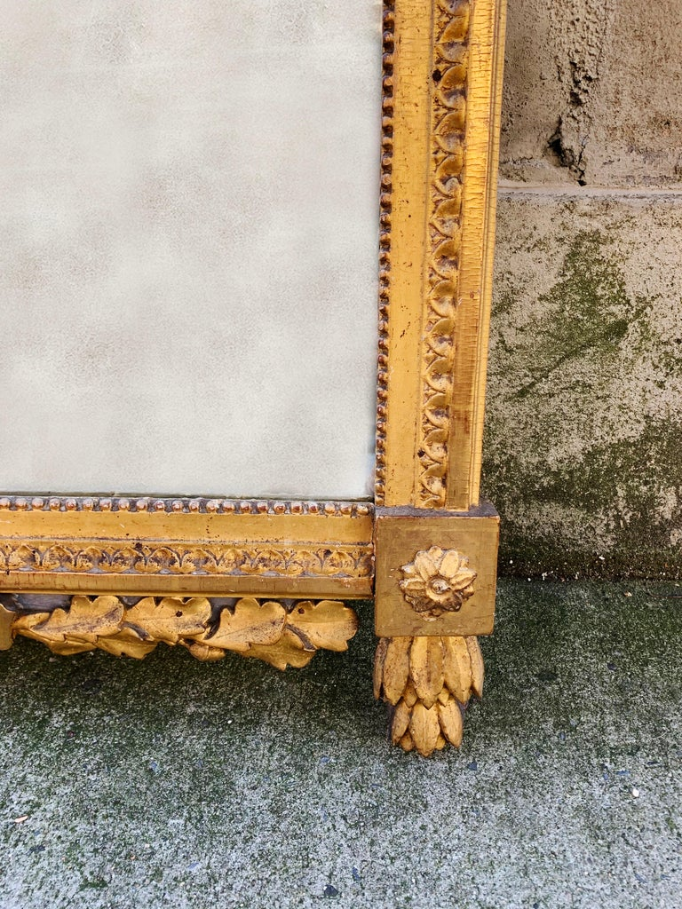 Late 18th Century Period Louis XVI 18th Century French Giltwood Louis XVI Mirror with Lyre For Sale