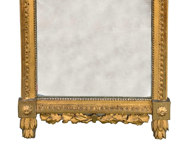 Period Louis XVI 18th Century French Giltwood Louis XVI Mirror with Lyre For Sale 2