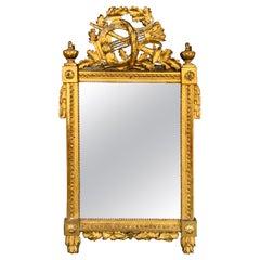 Period Louis XVI 18th Century French Giltwood Louis XVI Mirror with Lyre