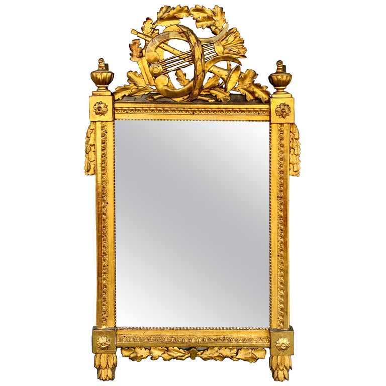 Period Louis XVI 18th Century French Giltwood Louis XVI Mirror with Lyre For Sale