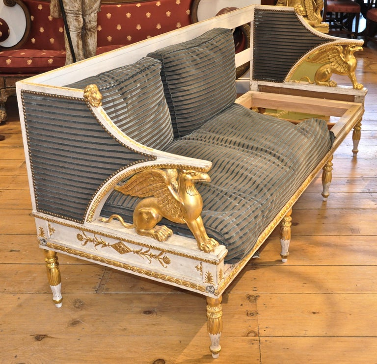 Period giltwood and painted Griffin sofa attributed to Ephraim Stahl  - Gilded and white painted Gustavian sofa as seen in