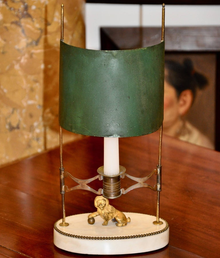 Period gilt bronze marble and tole Bouillotte or reading lamp  --Original Green Tole Adjustable Shade --Marble Base --Adjustable Candle Holder --Naive Lion Adornment  See: