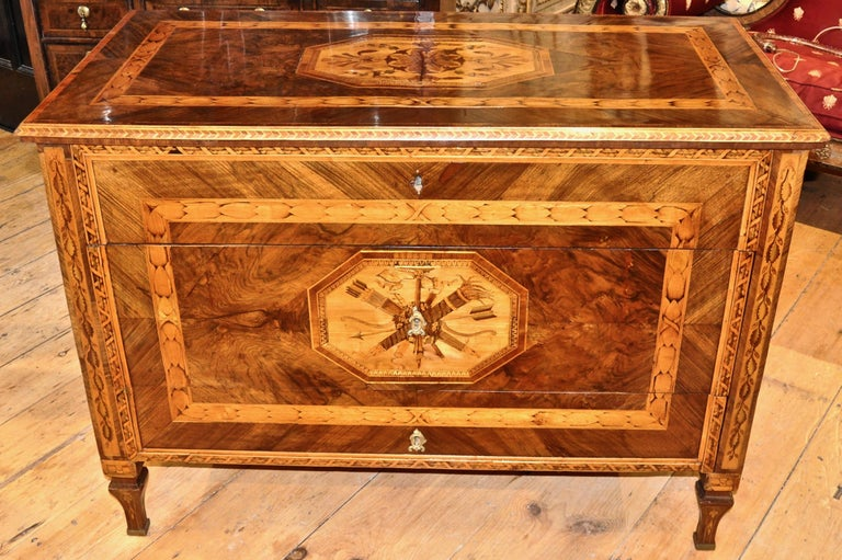 Period Italian or Milan three-drawer marquetry chest of drawers or commode.