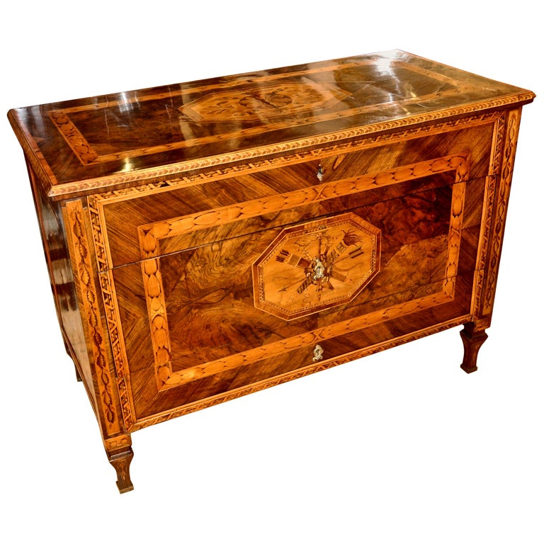 Period Neoclassical Walnut Marquetry Chest of Drawers in Style of Magglioni For Sale