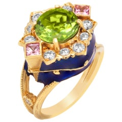 Period Pink Sapphire and Diamond Yellow Gold Ring with Blue Enamel Stambolian