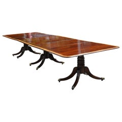 Period Regency Mahogany Triple Pedestal Dining Table with Satinwood Banding
