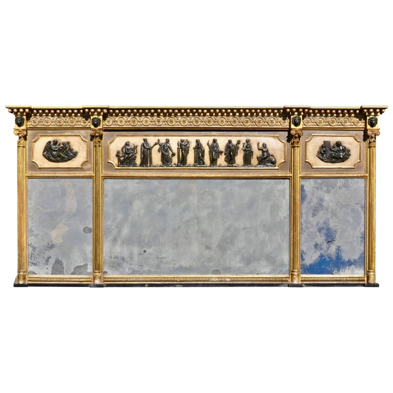 Period Regency Neoclassical Overmantel Mirror, All Original For Sale