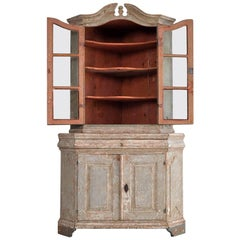 Period Swedish 18th Century Corner Cabinet with Original Paint