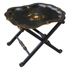 Period Victorian Pontypool Tole Tray on Later Stand