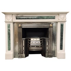 Period White Statuary Marble Fireplace Surround in the Regency Revival Manner