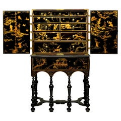 Period William & Mary Black and Gilt Japanned Cabinet on Stand