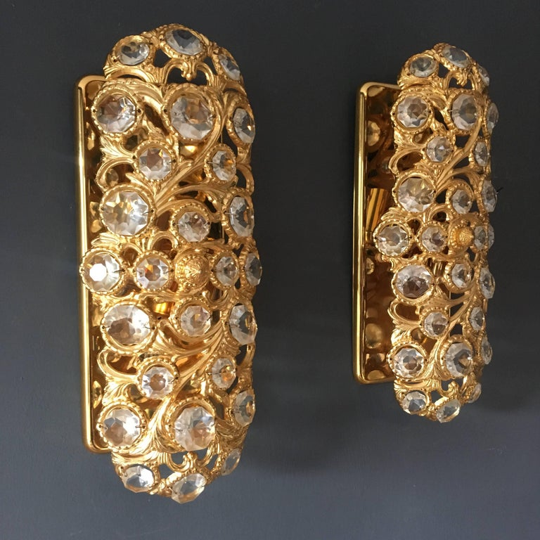 Spanish Peris Andreu Gold Toned Crystal Wall Lights For Sale
