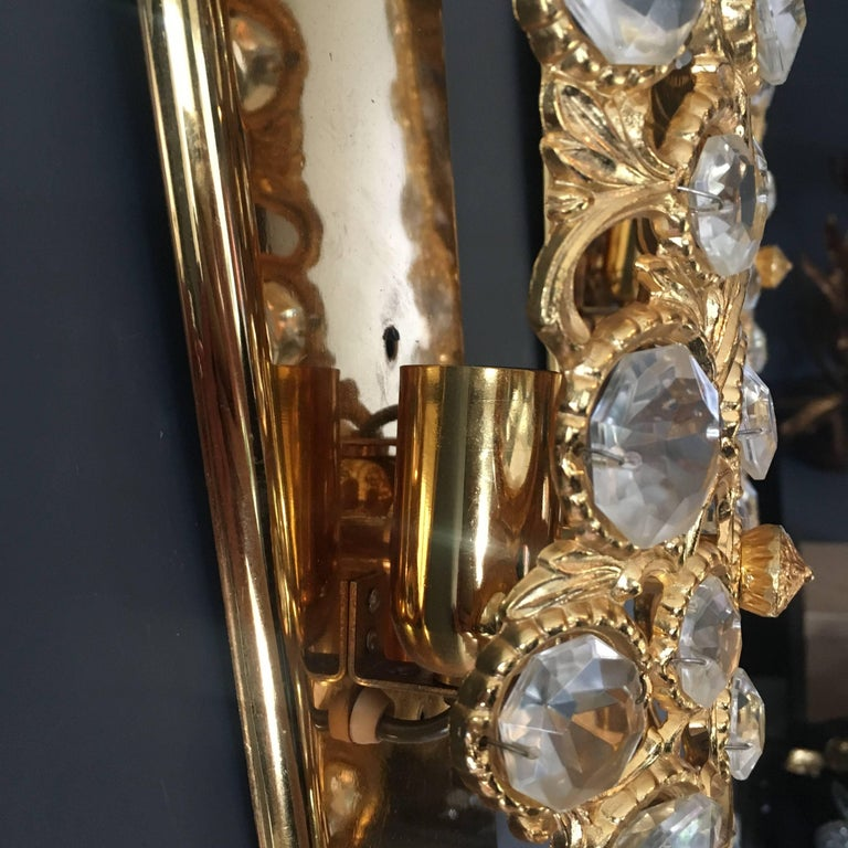 20th Century Peris Andreu Gold Toned Crystal Wall Lights For Sale