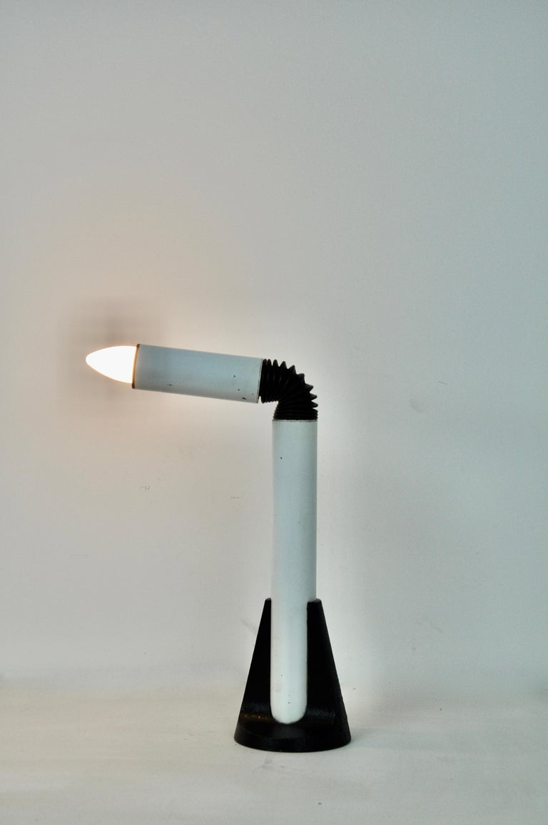 Metal lamp in white and black color. Wear due to time and age of the lamp (see photo).