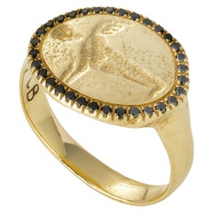 Peristera Ring with Black Diamond, 18 Karat Yellow Gold