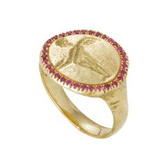 Peristera Ring with Ruby, 18 Karat Yellow Gold