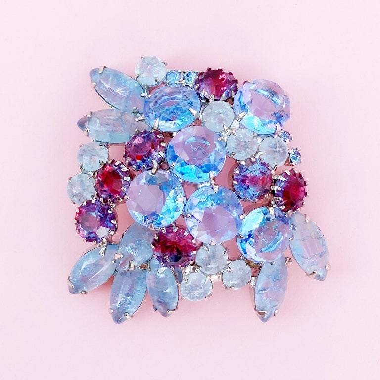 Modern Periwinkle Blue Crystal Rhinestone Layered Juliana Brooch By DeLizza & Elster For Sale